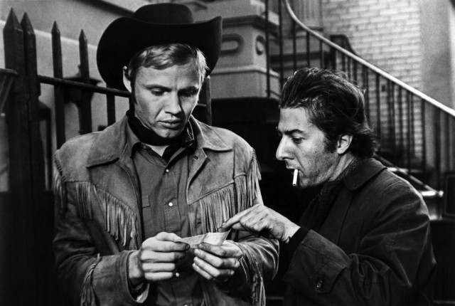 Jon Voight and Dustin Hoffman in a scene from MIDNIGHT COWBOY, 1969.
