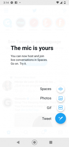 Captura de pantalla de Twitter Texto en imagen:  The mic is yours   You can now host and join live conversations in Spaces. Go on. Try it.  Spaces Photos GIF Tweet