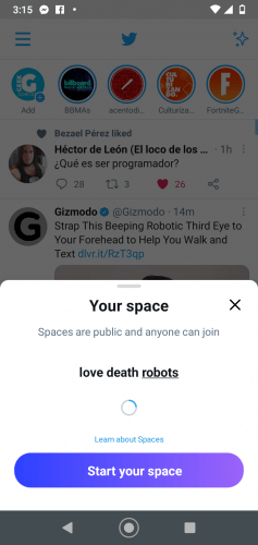 Captura de pantalla de Twitter Texto en imagen:  Your space  Spaces are public and anyone can join  love death robots  Learn about Spaces Start your space